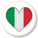 Italy Country Flag Heart 25mm Button Badge